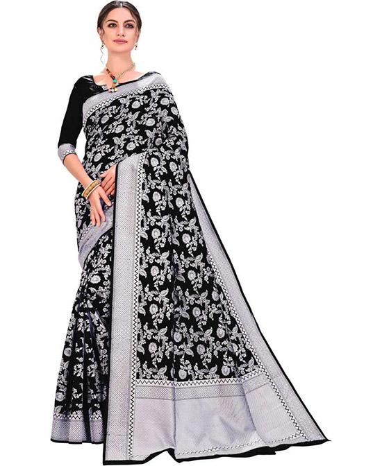 Lucknow Chikankari Silk Blend, Jacquard Saree Black