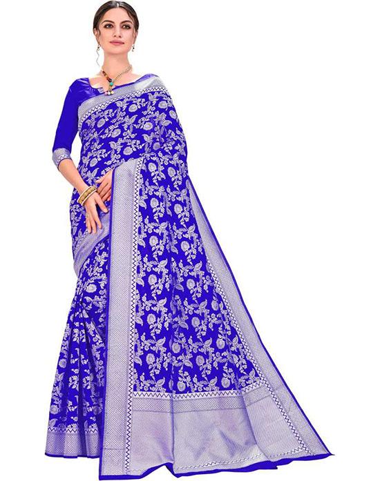 Lucknow Chikankari Silk Blend, Jacquard Saree (Blue