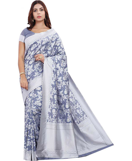 Lucknow Chikankari Silk Blend, Jacquard Saree Multicolor