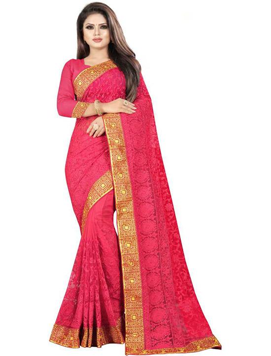 Lucknow PinkChikankari Net Saree