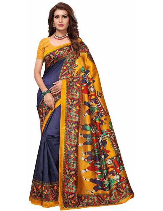 Madhubani Art Silk, Poly Silk Saree (Dark Blue