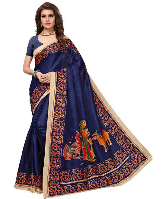 Madhubani Art Silk Saree Dark Blue