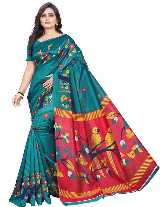 Madhubani Art Silk Saree(Green