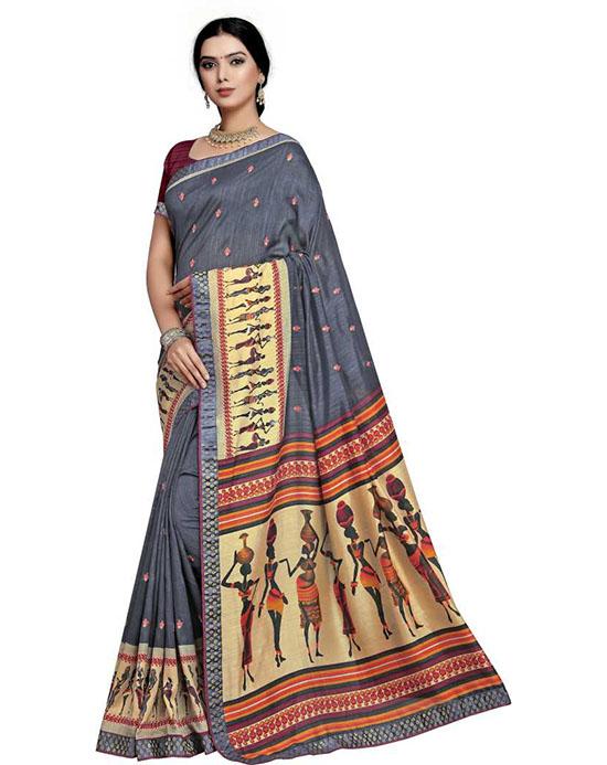 Madhubani Art Silk SareeGrey