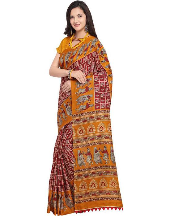 Madhubani Art Silk Saree Maroon