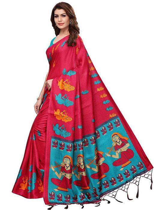 Madhubani Art Silk SareeRed