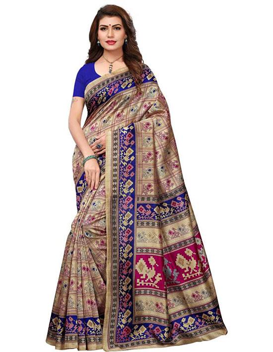 Madhubani Cotton Blend, Art Silk Saree Blue, Beige