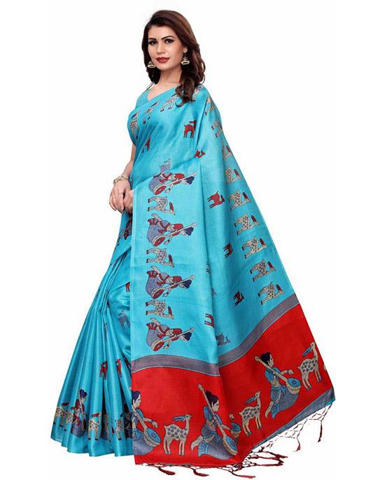 Madhubani Cotton Blend, Art Silk Saree Light Blue