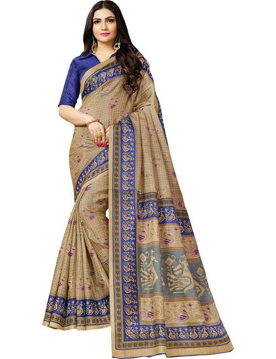 Madhubani Cotton Blend, Art Silk Saree (Multicolor