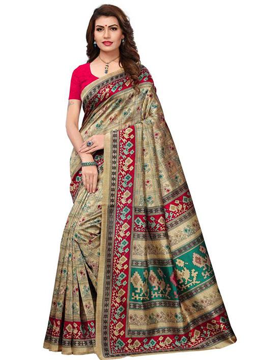 Madhubani Cotton Blend, Art Silk Saree Red, Beige