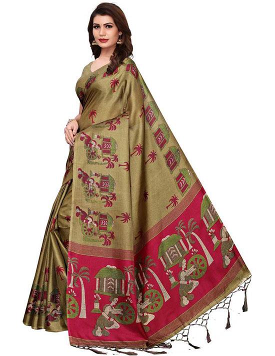 Madhubani Cotton Blend, Poly Silk Saree Beige