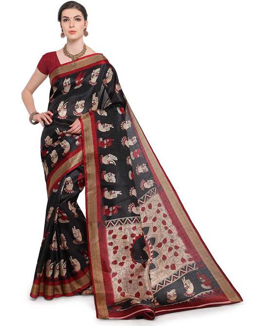 Madhubani Cotton Blend, Poly Silk Saree (Black