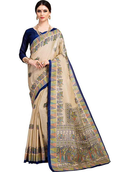 Madhubani Cotton Blend, Poly Silk Saree Blue, Beige