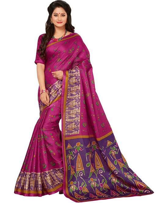 Madhubani Cotton Blend, Poly Silk Saree (Pink