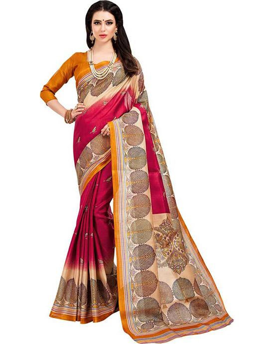 Madhubani Cotton Blend, Poly Silk Saree Red, Beige