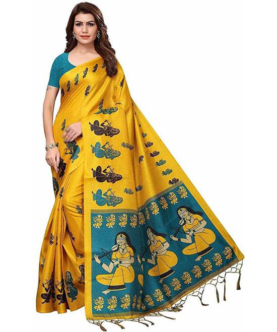 Madhubani Cotton Blend, Poly Silk Saree Yellow