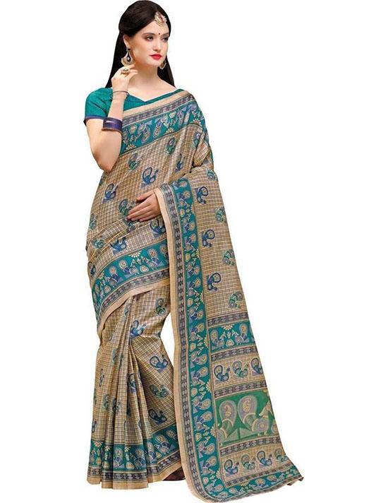 Madhubani Cotton Blend, Pure Cotton Saree (Beige, Light Green