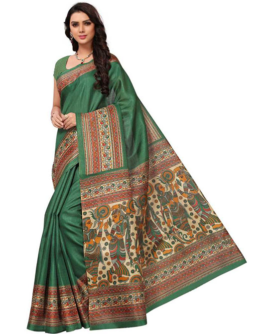 Madhubani Cotton Blend Saree Dark Green