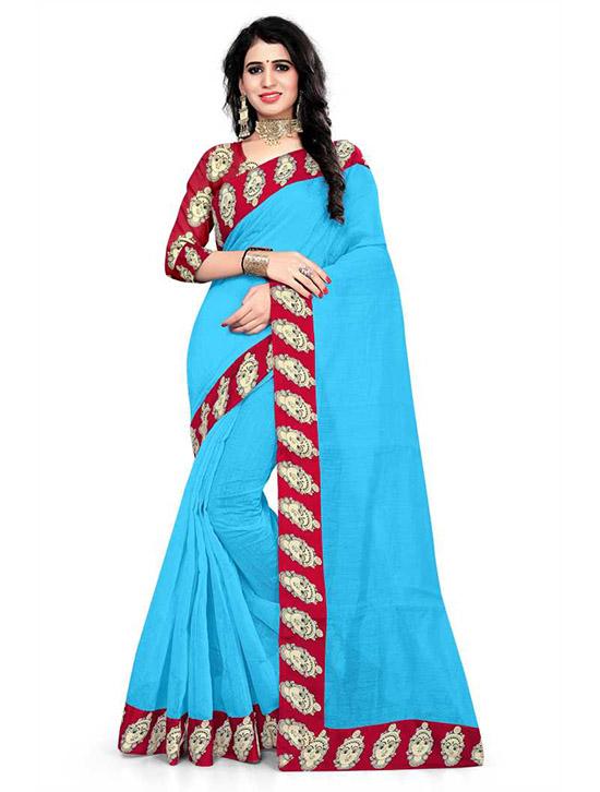 Madhubani Cotton Blend Saree Light Blue