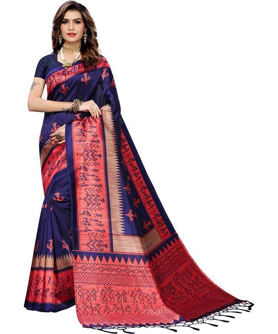 Madhubani Cotton Silk Saree Dark Blue, Pink
