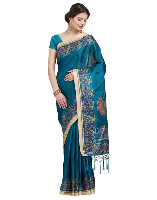 Madhubani Khadi Silk Saree (Blue