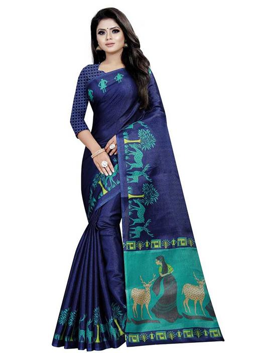 Madhubani Khadi Silk Saree Dark Blue