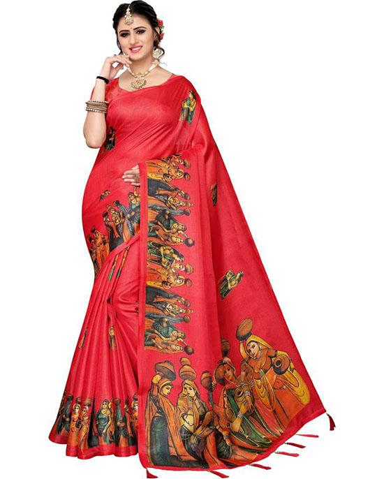 Madhubani Khadi Silk Saree Red