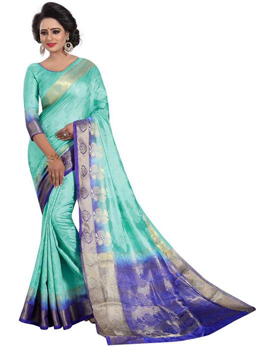 Madhubani Nylon Blend Saree (Green