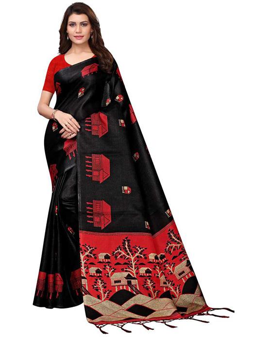 Madhubani Poly Silk Saree Black)