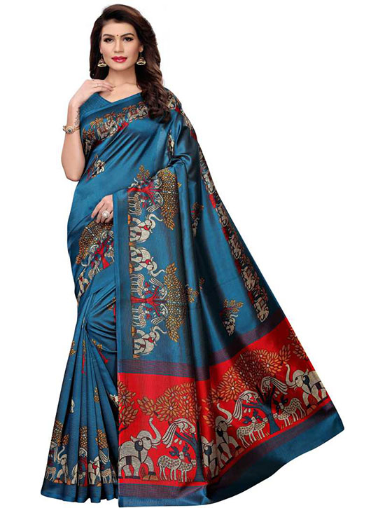 Madhubani Poly Silk Saree (Blue