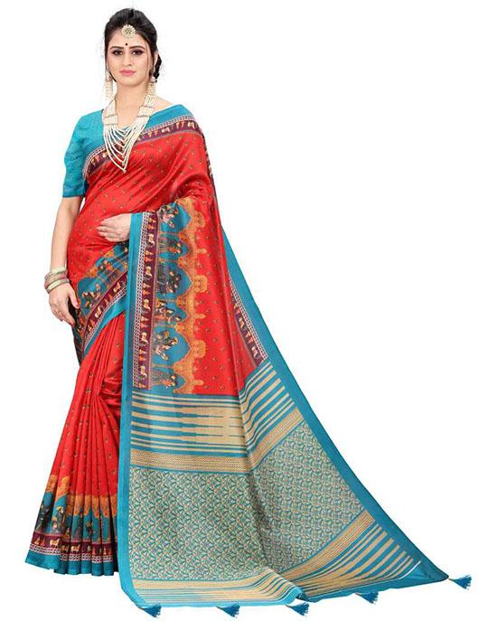 Madhubani Poly Silk Saree (Red