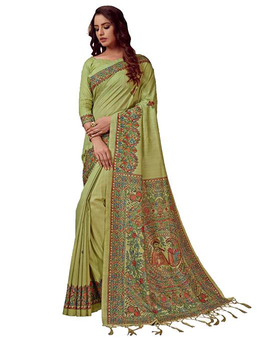 Madhubani Silk Blend, Khadi Silk SareeLight Blue