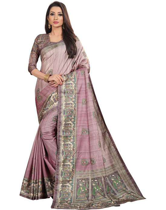 Madhubani Silk Blend Saree Green, Blue, Pink