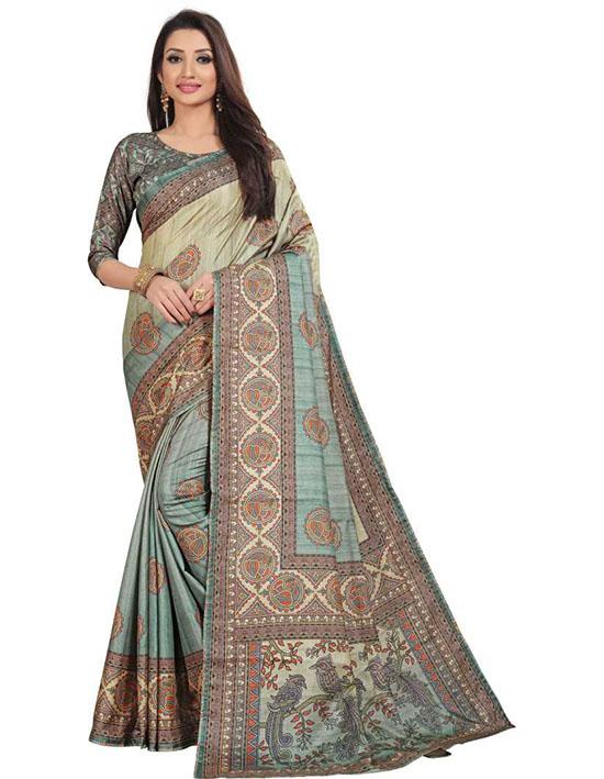 Madhubani Silk Blend Saree (Multicolor