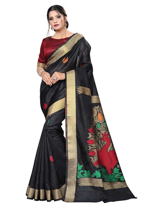 Madhubani Tussar Silk Saree Black