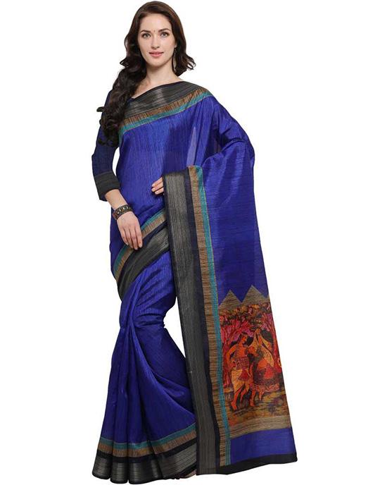 Madhubani Tussar Silk Saree (Blue