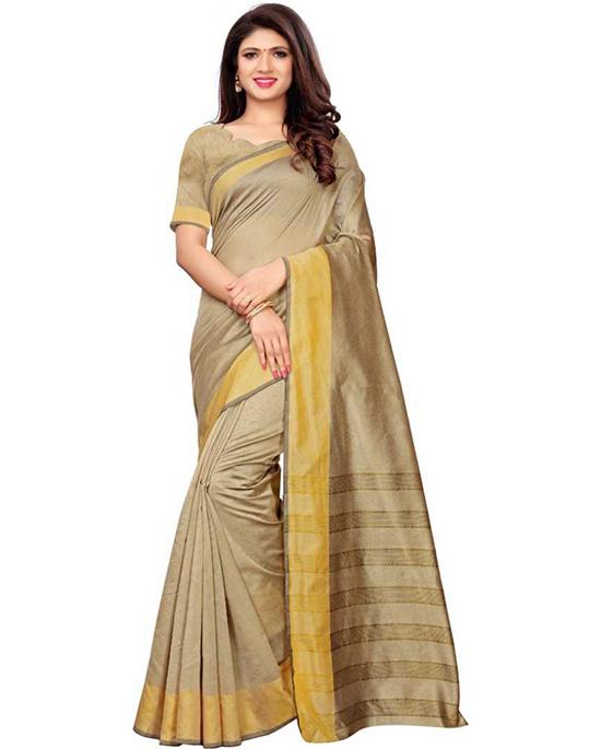 Maheshwari Silk Blend, Poly Chanderi Beige Colour Saree