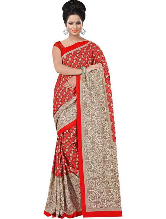 Manipuri Art Silk Saree Red