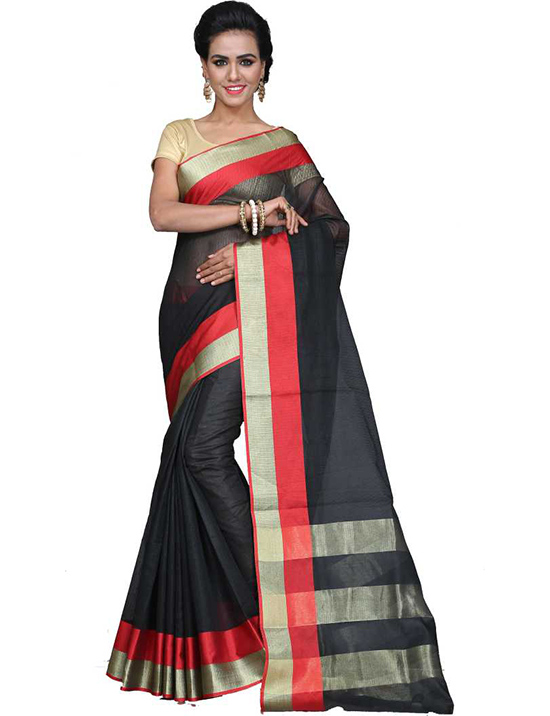 Manipuri Cotton Silk Saree Black