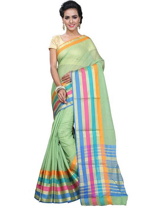 Manipuri Cotton Silk Saree Green)