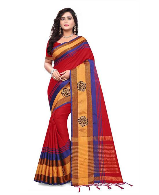 Manipuri Cotton Silk Saree Multicolor