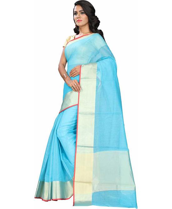 Manipuri Cotton Silk SareeBlue