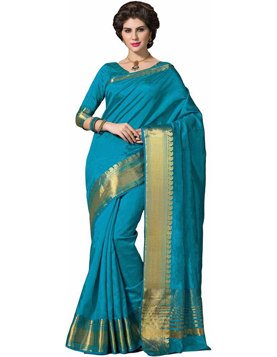 Manipuri Handloom Poly Silk Saree Blue