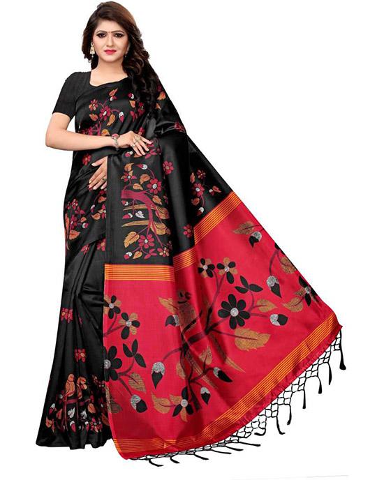 Manipuri Khadi Silk Saree Black