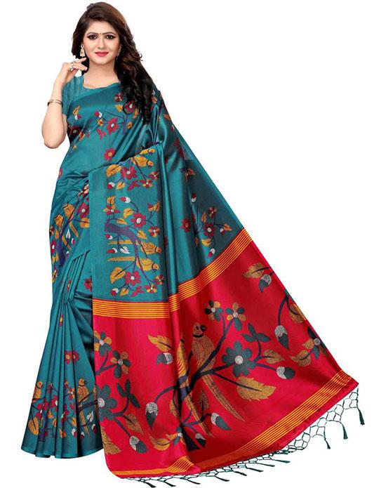 Manipuri Khadi Silk Saree Blue