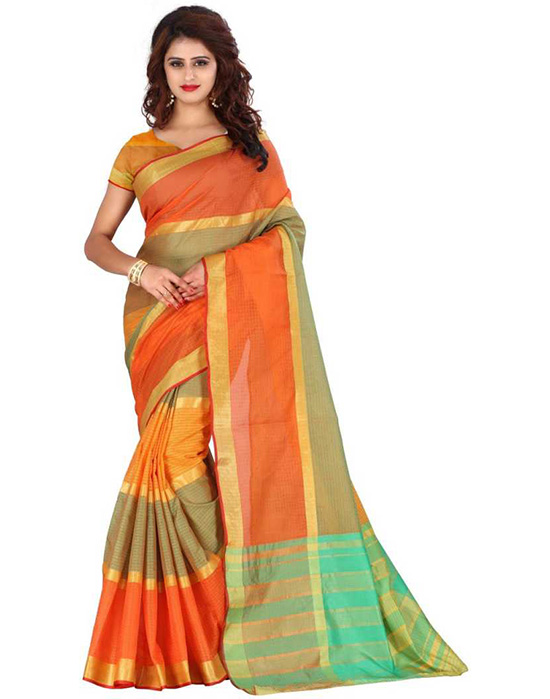 Manipuri Poly Silk Saree Multicolor