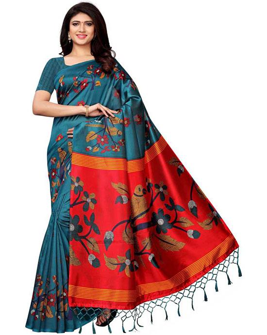 Manipuri Silk Blend, Cotton Blend Saree Blue