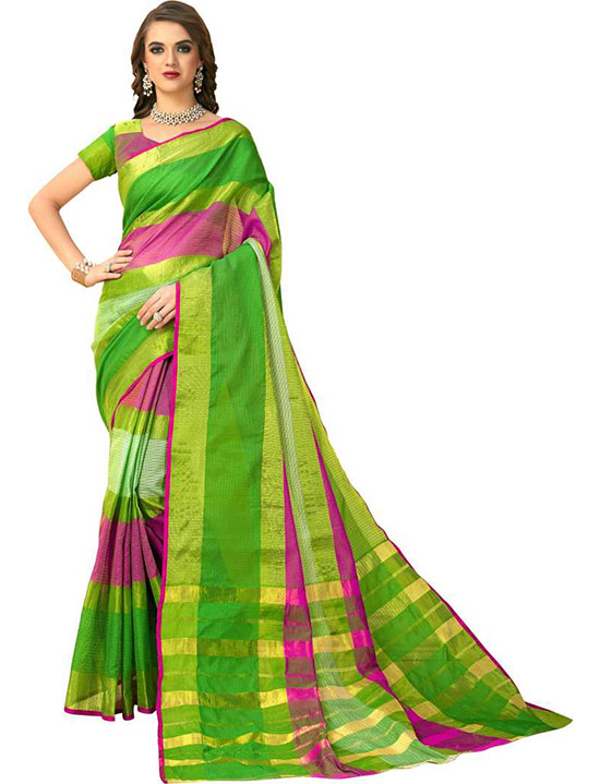 Manipuri Silk Blend Saree Green