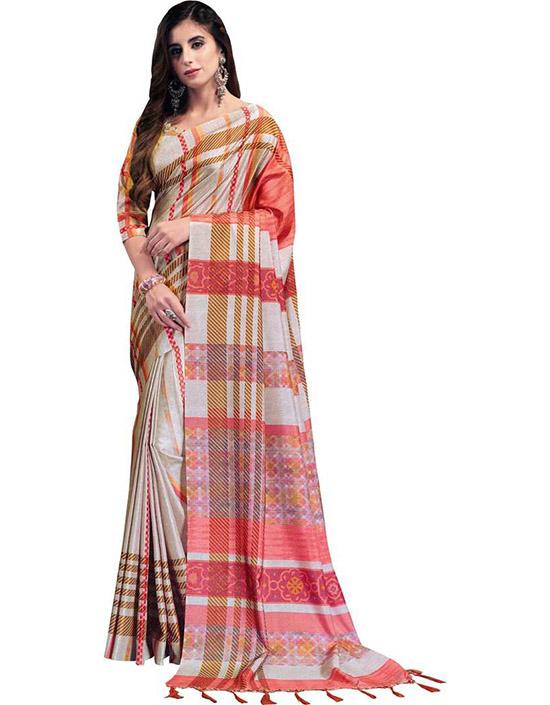 Manipuri Tussar Silk, Poly Silk Saree Grey