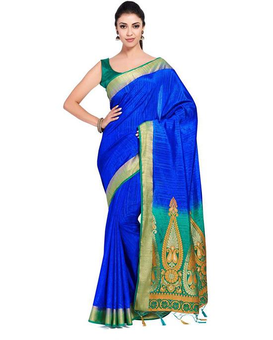 Molakalmuru Art Silk Saree Blue)